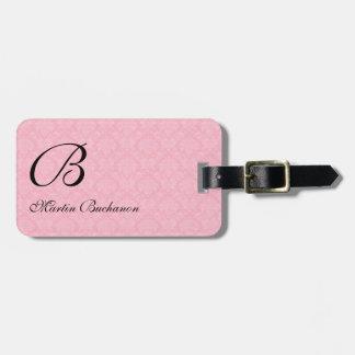 Etiqueta De Bagagem Damasco cor-de-rosa Monogrammed para viajantes