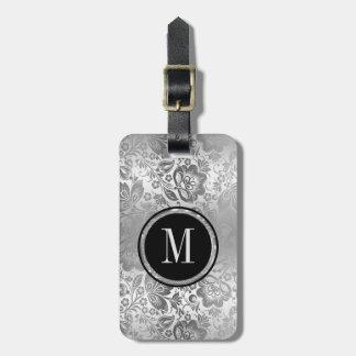 Etiqueta De Bagagem Damasco de prata metálico do monograma