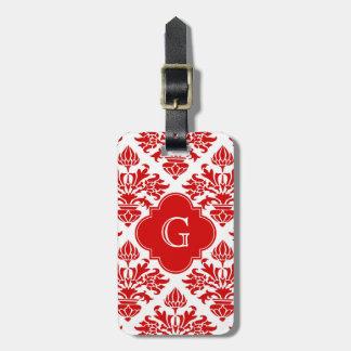 Etiqueta De Bagagem Damasco floral vermelho #3 do vintage com