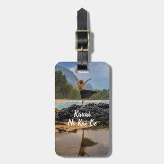 Etiqueta De Bagagem Dançarino de Hula na praia de Lumaha'i, Kauai,