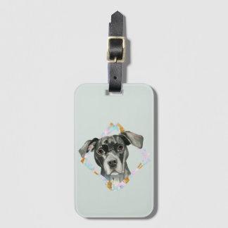 """Etiqueta De Bagagem De """"pintura da aguarela do cão do pitbull todas as"""
