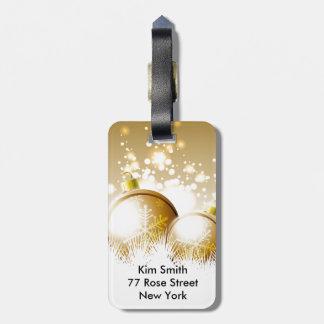 Etiqueta De Bagagem Decoração marrom dourada do ano novo com neve