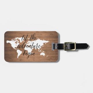 Etiqueta De Bagagem Deixe a aventura começar o Tag de madeira da