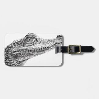 Etiqueta De Bagagem Desenho da tinta do crocodilo do bebê