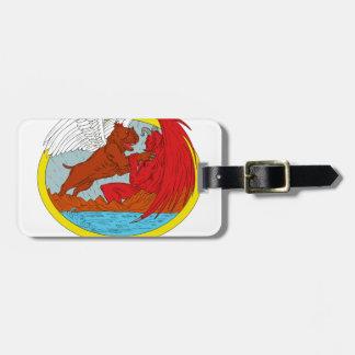 Etiqueta De Bagagem Desenho de combate da satã do cão americano da