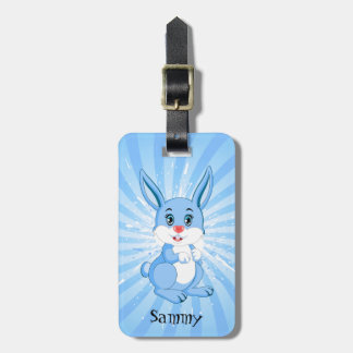 Etiqueta De Bagagem Desenhos animados azuis bonitos do coelho