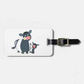 Etiqueta De Bagagem Desenhos animados bonitos vaca e vitela cercadas