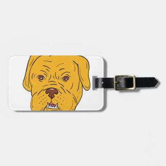 Etiqueta De Bagagem Desenhos animados da cabeça de cão do Bordéus