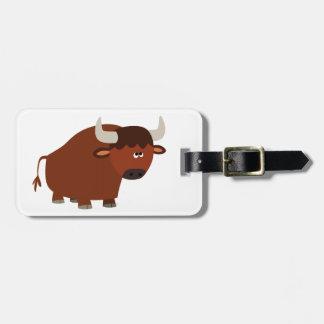 Etiqueta De Bagagem Desenhos animados tímidos bonitos Bull