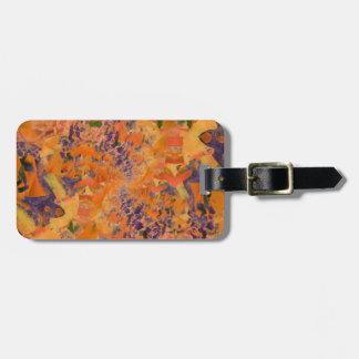 Etiqueta De Bagagem Design alaranjado & roxo da arte abstracta, Tag da