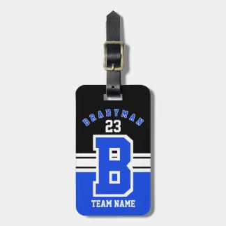 Etiqueta De Bagagem Design azul, branco e preto do esporte