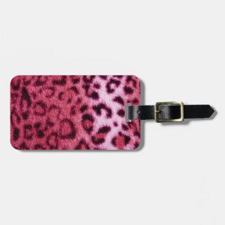 Etiqueta De Bagagem Design cor-de-rosa do teste padrão do leopardo
