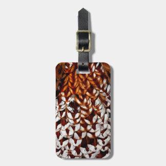 Etiqueta De Bagagem Design de cobre da pena do faisão