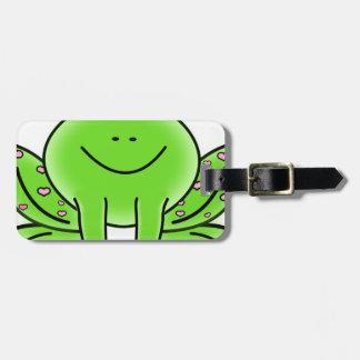 Etiqueta De Bagagem design do verde da inspiração da arte do sapo