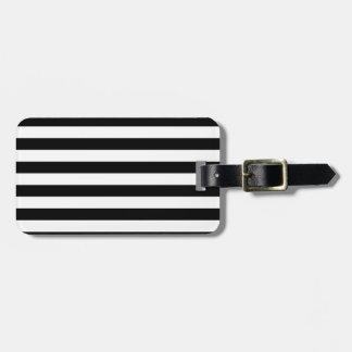Etiqueta De Bagagem Design listrado   preto e branco da listra