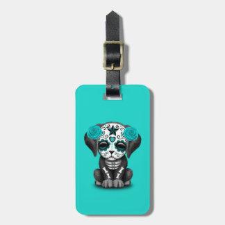 Etiqueta De Bagagem Dia azul do cão de filhote de cachorro inoperante