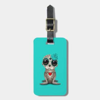 Etiqueta De Bagagem Dia azul do leão de mar inoperante do bebê