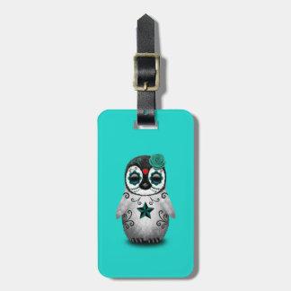 Etiqueta De Bagagem Dia azul do pinguim inoperante do bebê