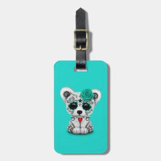 Etiqueta De Bagagem Dia azul do urso polar do bebê inoperante