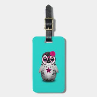 Etiqueta De Bagagem Dia cor-de-rosa do pinguim inoperante do bebê