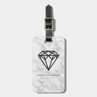 Etiqueta De Bagagem Diamante com mármore