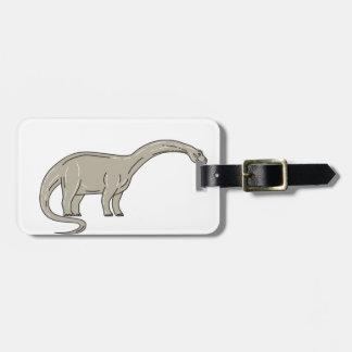 Etiqueta De Bagagem Dinossauro do Brontosaurus que olha abaixo da mono