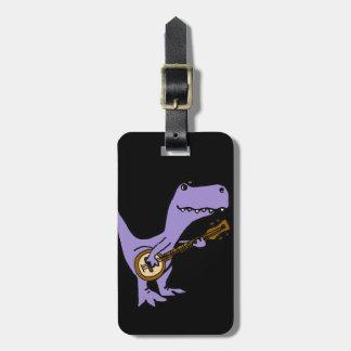 Etiqueta De Bagagem Dinossauro engraçado de T-rex que joga o banjo