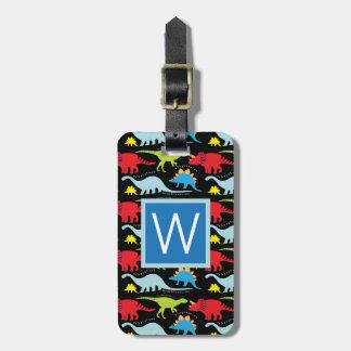 Etiqueta De Bagagem Dinossauros do azul do monograma |