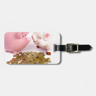 Etiqueta De Bagagem Dois mealheiros com as euro- moedas no branco