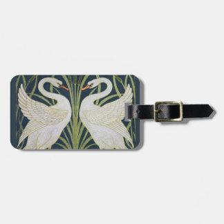 Etiqueta De Bagagem Dois pássaros de Nouveau do vintage das cisnes