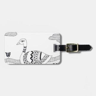 Etiqueta De Bagagem Doodle preto e branco da cisne