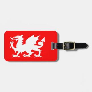 Etiqueta De Bagagem Dragão vermelho e branco brilhante de Galês