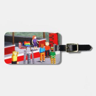 Etiqueta De Bagagem E.U. e bandeiras do orgulho feitas dos blocos