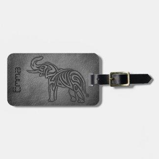 Etiqueta De Bagagem Elefante tribal de couro