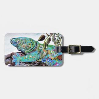 Etiqueta De Bagagem Estilo do art deco do lagarto de Nova Caledônia