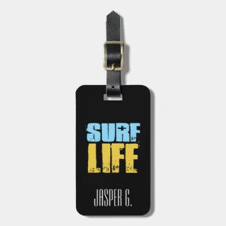 Etiqueta De Bagagem Estilo do surfista da praia da vida do surf