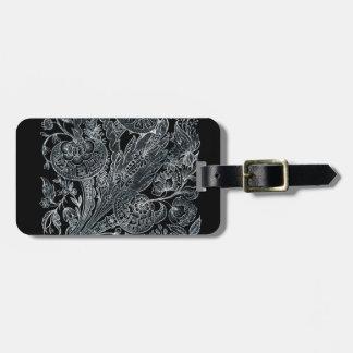 Etiqueta De Bagagem estilo floral de prata do embutimento