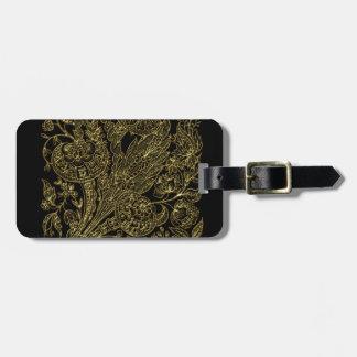 Etiqueta De Bagagem estilo floral dourado do embutimento
