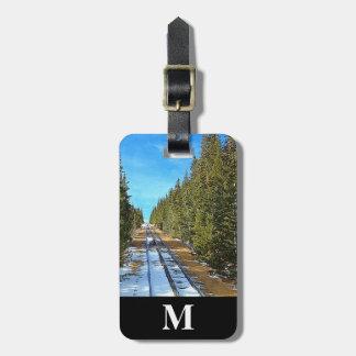 Etiqueta De Bagagem Estrada de ferro da neve do inverno do viagem do