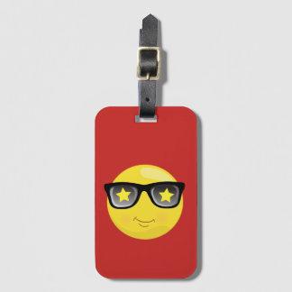 Etiqueta De Bagagem Estrela do rock Emoji no Tag vermelho da bagagem