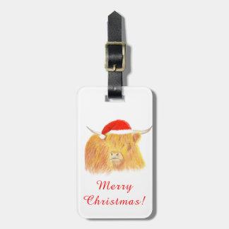 Etiqueta De Bagagem Etiqueta da bagagem da vaca das montanhas do Natal