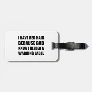 Etiqueta De Bagagem Etiqueta de advertência do cabelo principal
