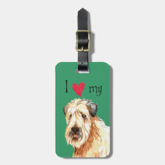 Etiqueta De Bagagem Eu amo meu Terrier Wheaten revestido macio