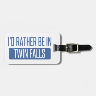 Etiqueta De Bagagem Eu preferencialmente estaria em quedas gêmeas