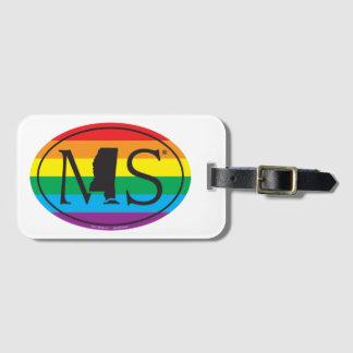 Etiqueta De Bagagem Euro do orgulho do estado de LGBT: MS Mississippi
