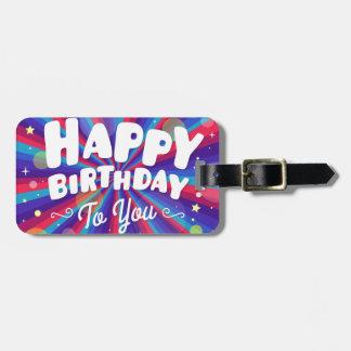 Etiqueta De Bagagem Explosão de cor roxa feliz aniversário