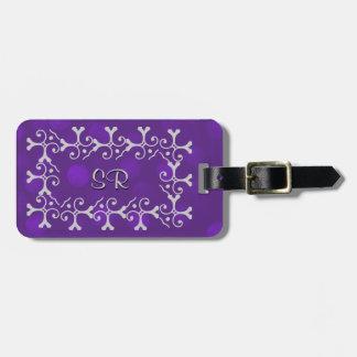 Etiqueta De Bagagem Faísca roxa da elegância de prata personalizada