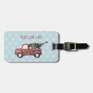 Etiqueta De Bagagem Feliz Natal do caminhão do brinquedo do amor & da