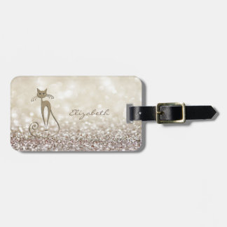 Etiqueta De Bagagem Feminino elegante moderno, Glittery, Bokeh, gato