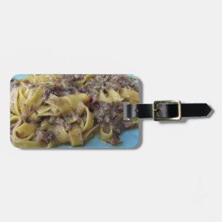 Etiqueta De Bagagem Fettuccine ou massa fresca italiana do tagliatelle